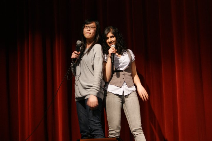 Us hosting our high school talent show in 2010